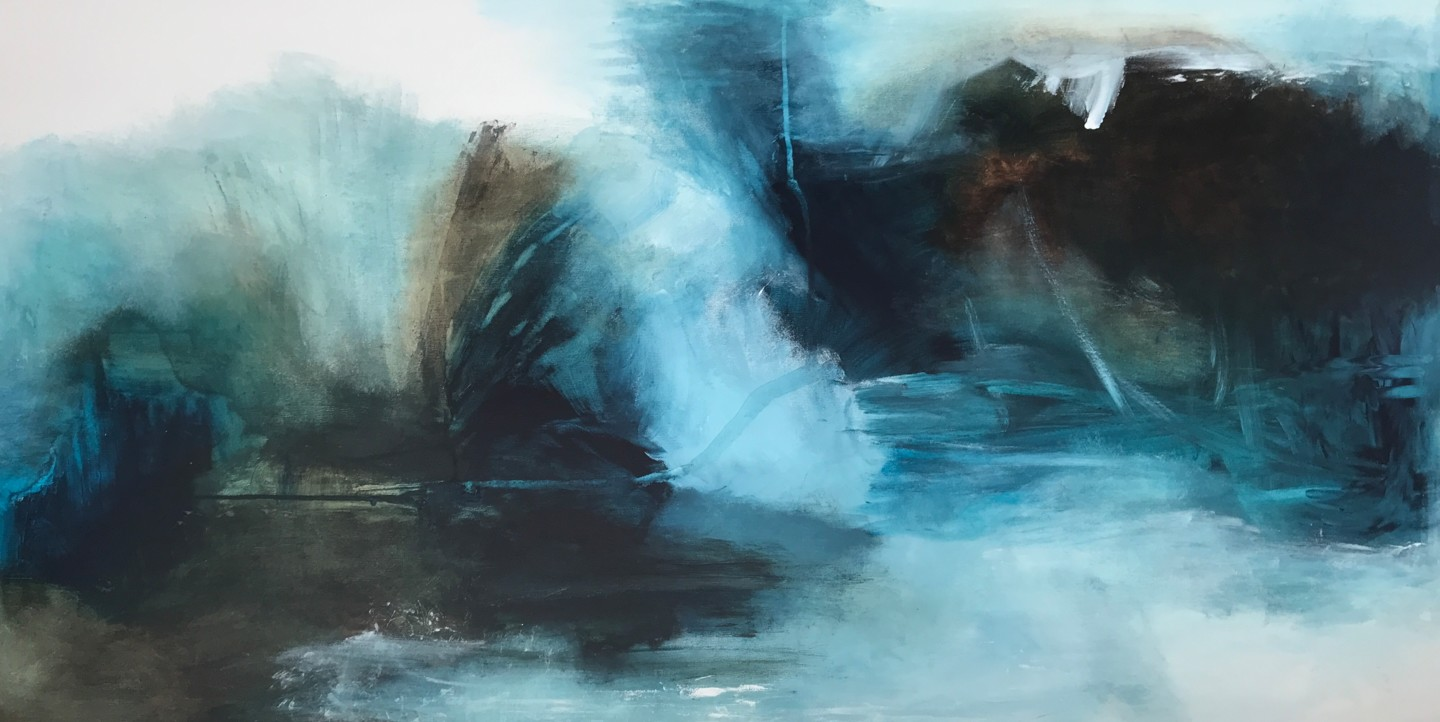 Tiny De Bruin - Landscape in natural eartly colours white, Blue, turquoise